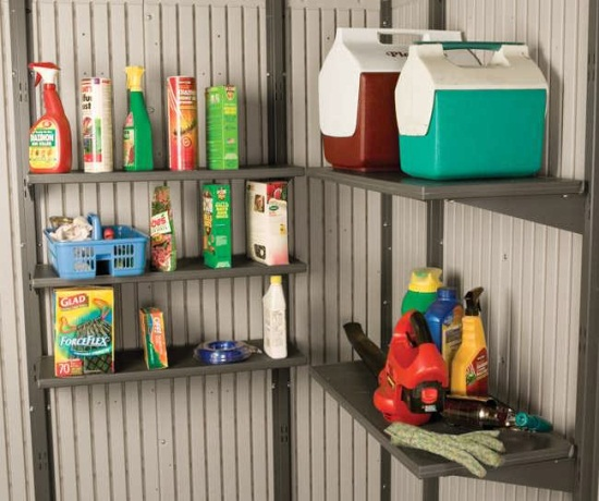Lifetime shed accessories 5 pack 10 x 30 in shelves for 11 for Attaching shelves to plastic shed