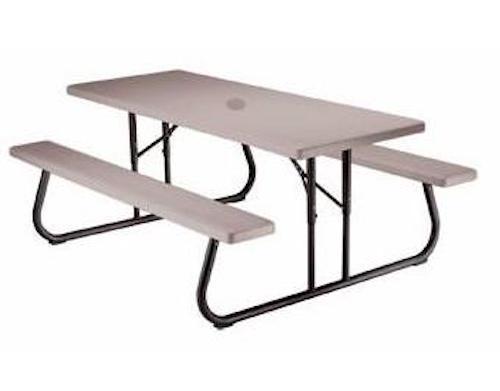 Home U003e Tables U003e Banquet Tables U003e Lifetime Tables U003e SO Lifetime 22120 Putty  6u0027 Folding Picnic Table + Umbrella Hole + Cap