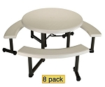 "Lifetime Round Picnic Tables 2127 44"" Almond Top Swivel Benches 8 Pack"