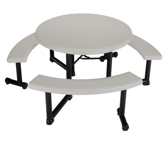 So Lifetime Round Picnic Tables 80063 Brown 44 In Swivel