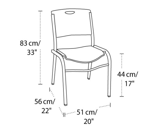 Lifetime 2830 Lifetime Black Stacking Chair on Sale Free Shipping