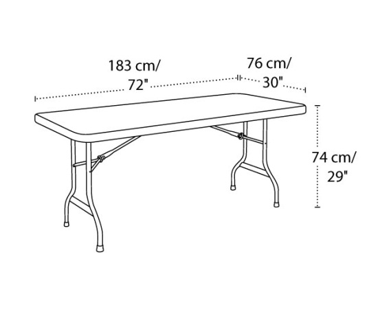 22900 lifetime 6 39 plastic folding outdoor folding table - Dimension table 6 personnes ...