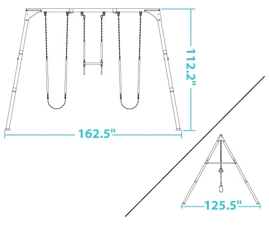 assetsimages290038 lifetime a frame swing set dimensions diagramjpg - Metal Swing Frame