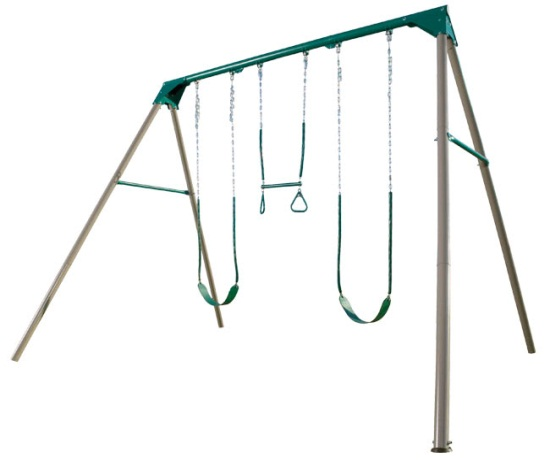 Lifetime Heavy-Duty A-Frame Metal Swing Set with 3 Stations (Earth Tone)