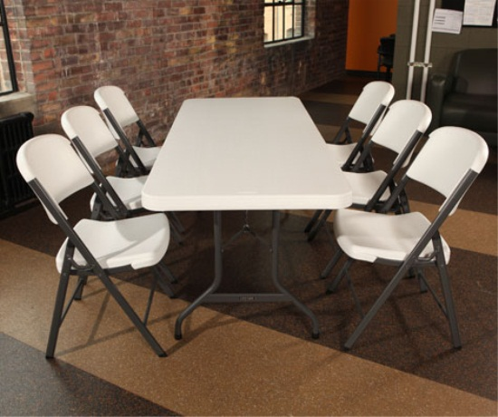 Perfect ... Assets/images/2901 Lifetime Plastic Table Set Up With 3 Chairs On Each  Side ...