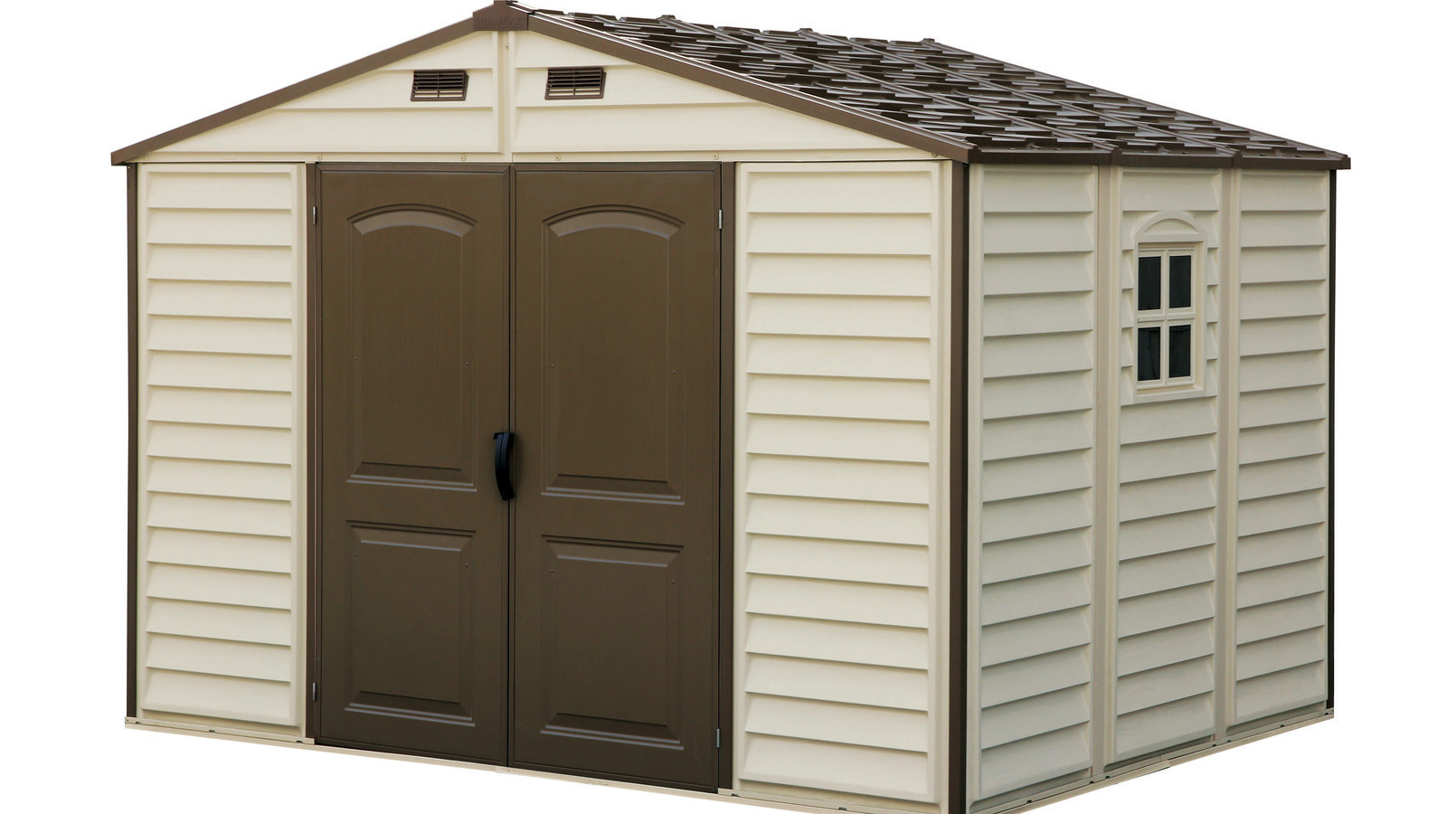 Duramax 30214 vinyl woodside shed on sale with free for Outside storage shed