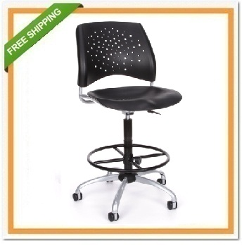 Ofm 326 P Dk Stars Swivel Plastic Chair With Drafting Kit
