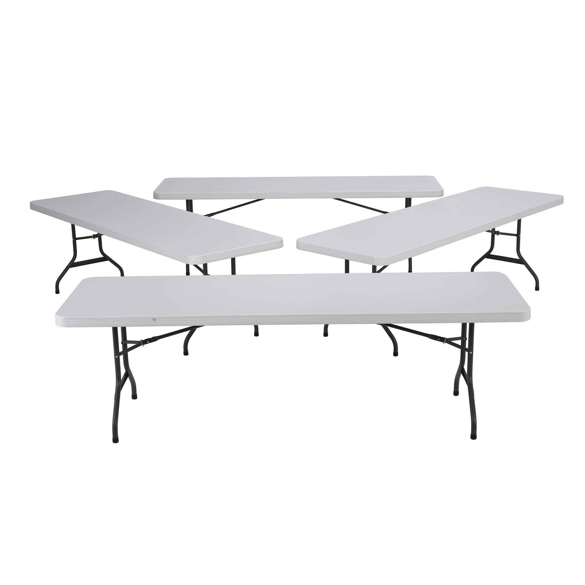 New 2980 4 Pack Lifetime 8 White Granite Folding Table