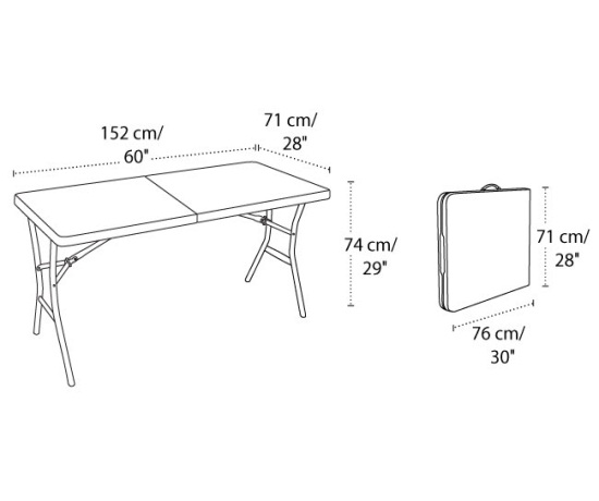 View Fold in Half Table Dimensions