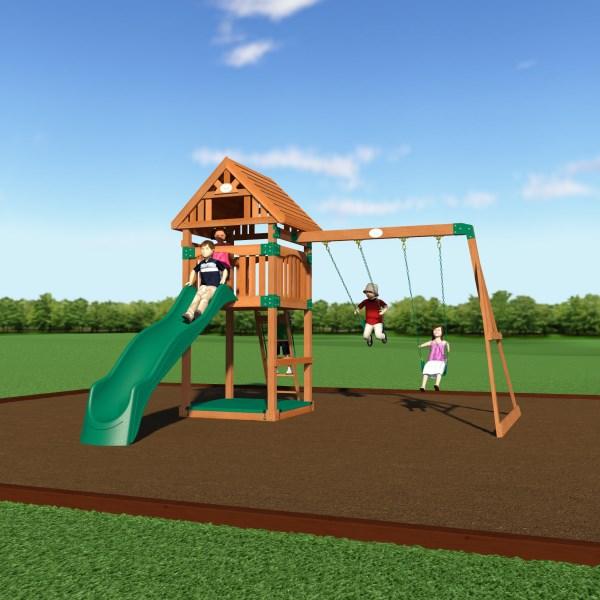 Backyard Playground Set :  Play > Backyard Odyssey 54213com Trek Wooden Playground Play Set
