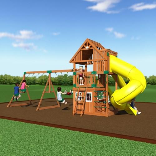 Backyard Playground Set : Backyard Discovery 54293com Traverse Wooden Swing Set Playground