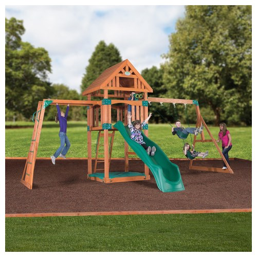 Backyard Gym Sets : Home > Outdoor Play > Backyard Discovery Capitol Peak Wooden Swing Set