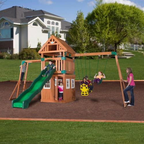 Backyard Gym Sets : Outdoor Play > Backyard Discovery 54413 Castle Peak Wooden Swing Set