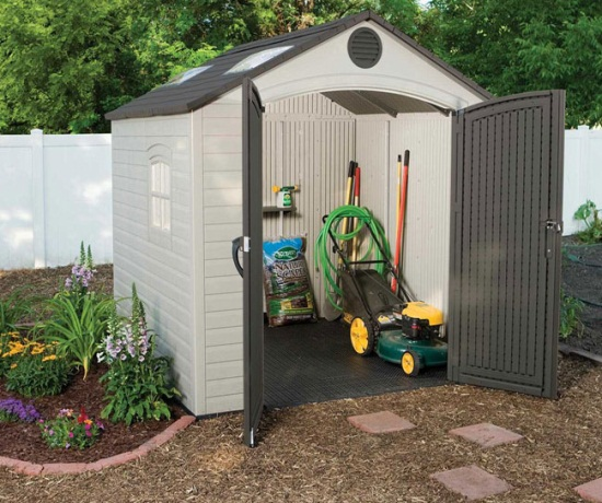 Lifetime 60015 8 x 7 5 storage shed on sale with fast for Outdoor storage units for sale