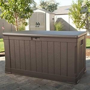 lifetime outdoor 116 gallon deck storage box and bench. Black Bedroom Furniture Sets. Home Design Ideas