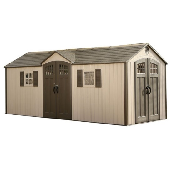 Lifetime outdoor storage shed 60127 20x8 dual entry for Outside storage shed