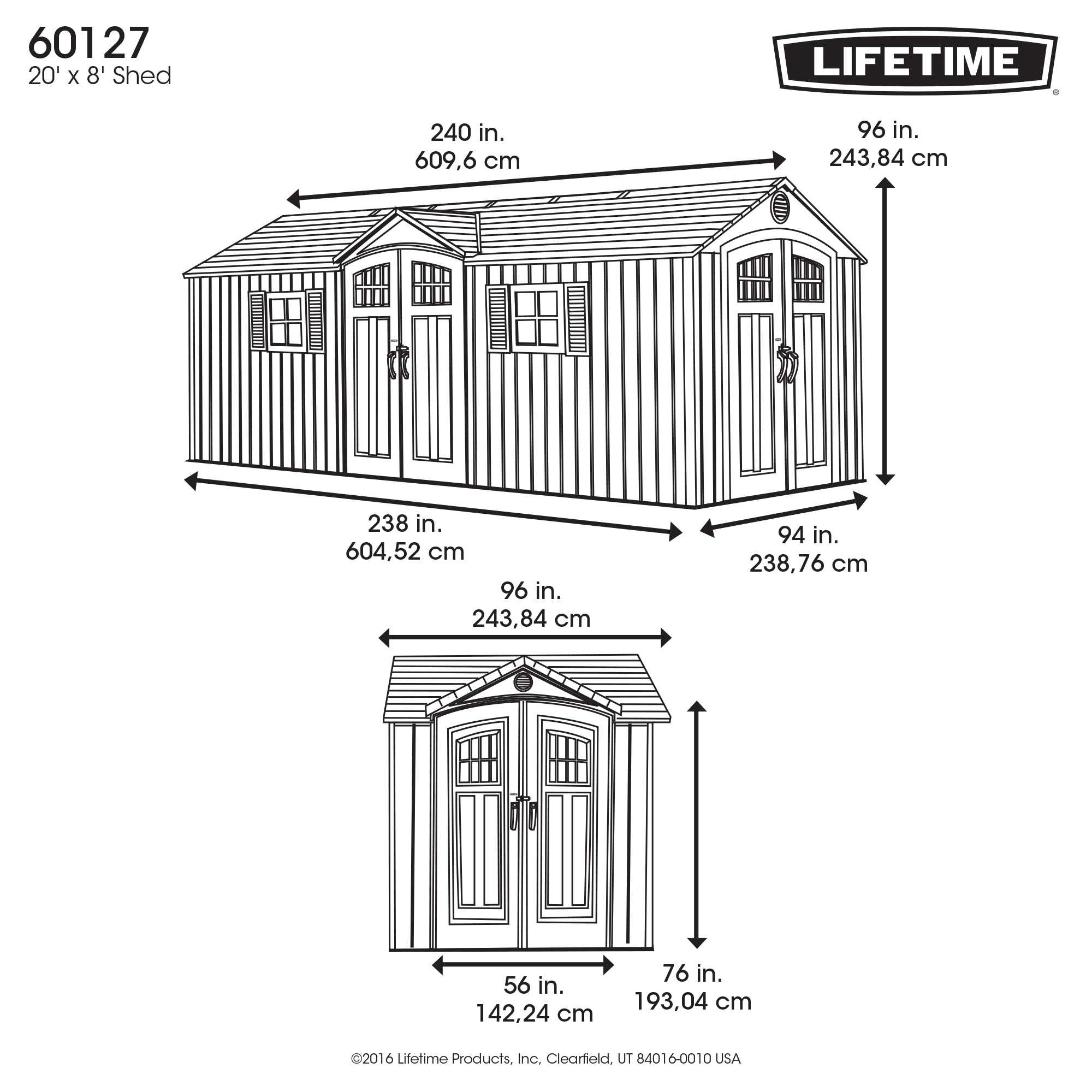 Lifetime 60127 20x8 Lifetime Shed 734383 On Sale With Fast