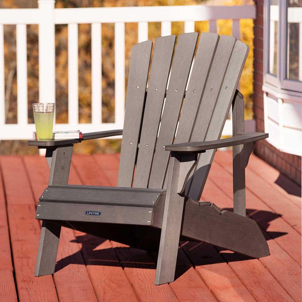 Lifetime 60204 Grey Adirondack Patio Furniture Polystyrene Chair