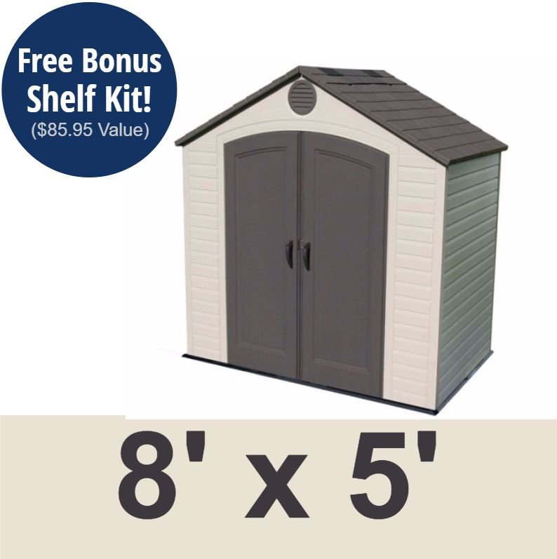 Sheds > Lifetime Products 6418 Outdoor Storage Shed 8 x 5 ft. Storage