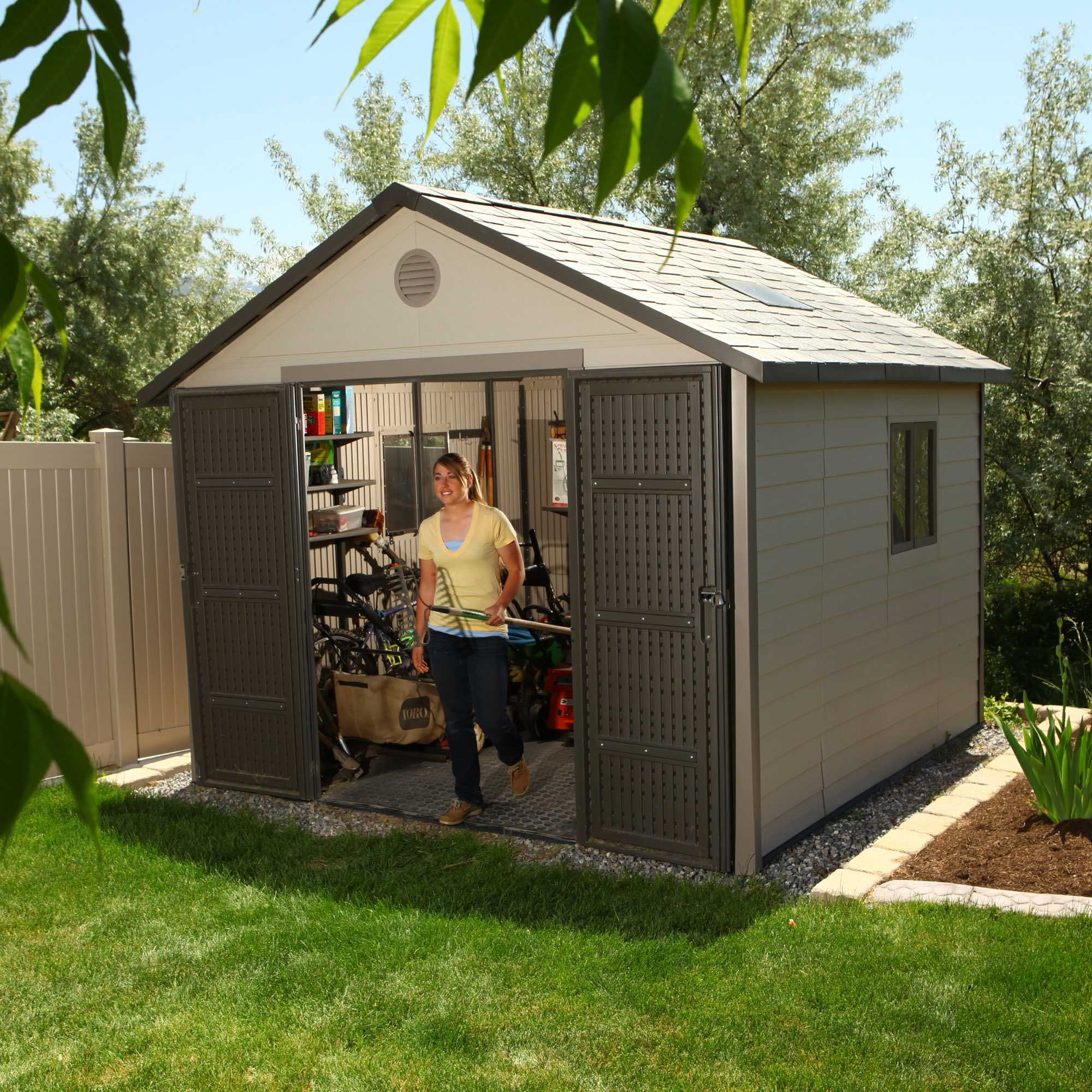 Lifetime 6433 11 x 11 storage building sale with fast for Garden shed january sale