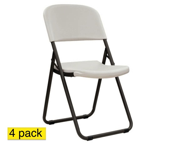 Lifetime Contour Folding Chairs 480072 Almond Loop Leg