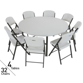 Pack Lifetime In Round Tables Pack Chairs Package In White - Round tables and chairs