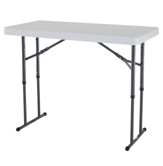 new lifetime 4 39 adjustable white granite folding table. Black Bedroom Furniture Sets. Home Design Ideas