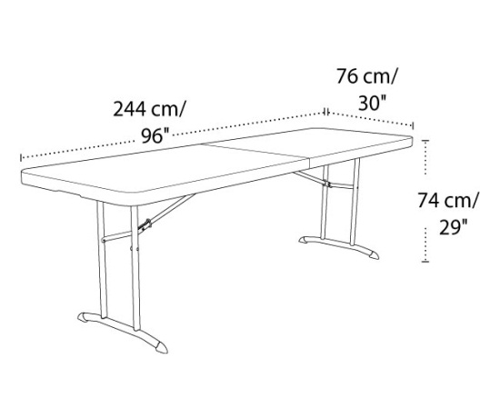 Lifetime products 80175 8 ft almond fold in half folding table for Table 6 personnes dimensions