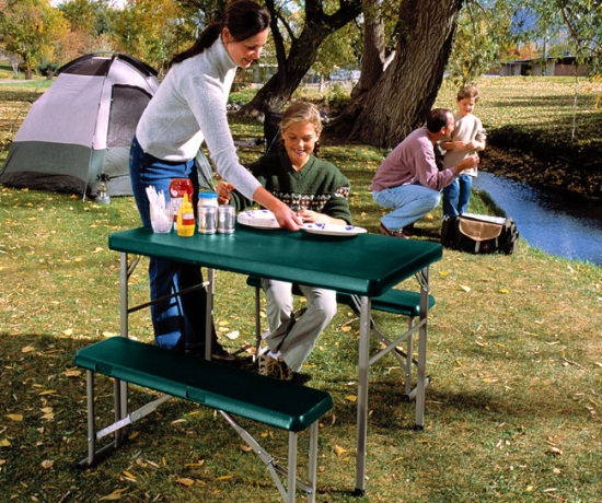 New 80188 Lifetime Camp Folding Sport Table Amp Bench Set