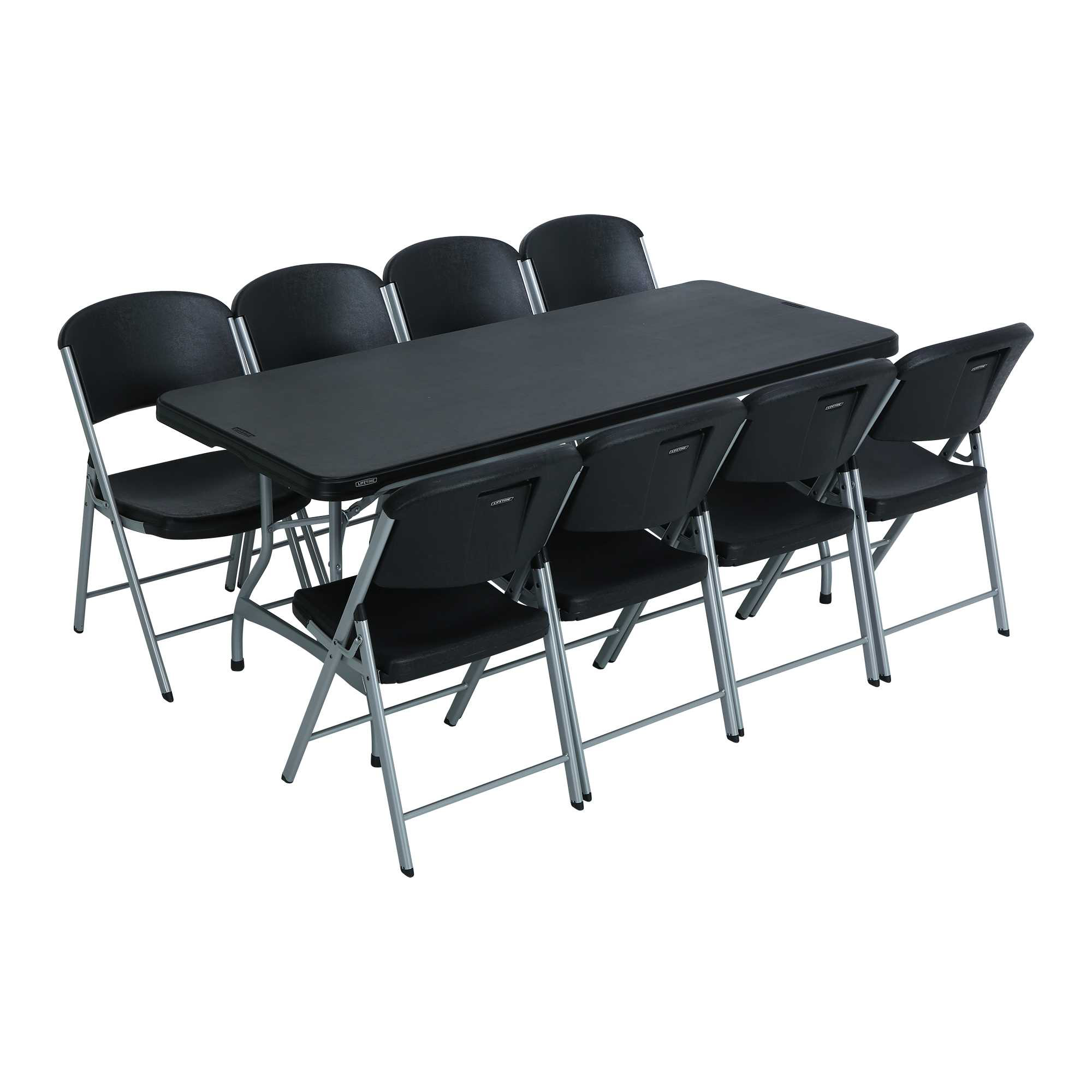 Free Tables And Chairs: Lifetime 6 Ft Rectangular Tables & Chairs (Black) Fast