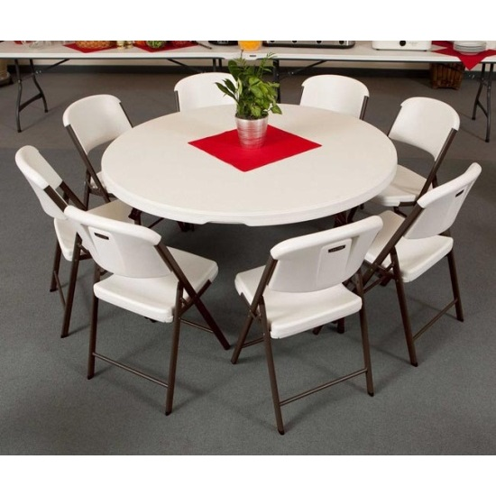 Lifetime 60inch Round Table Chair Package 1 Table 8 Folding Chairs