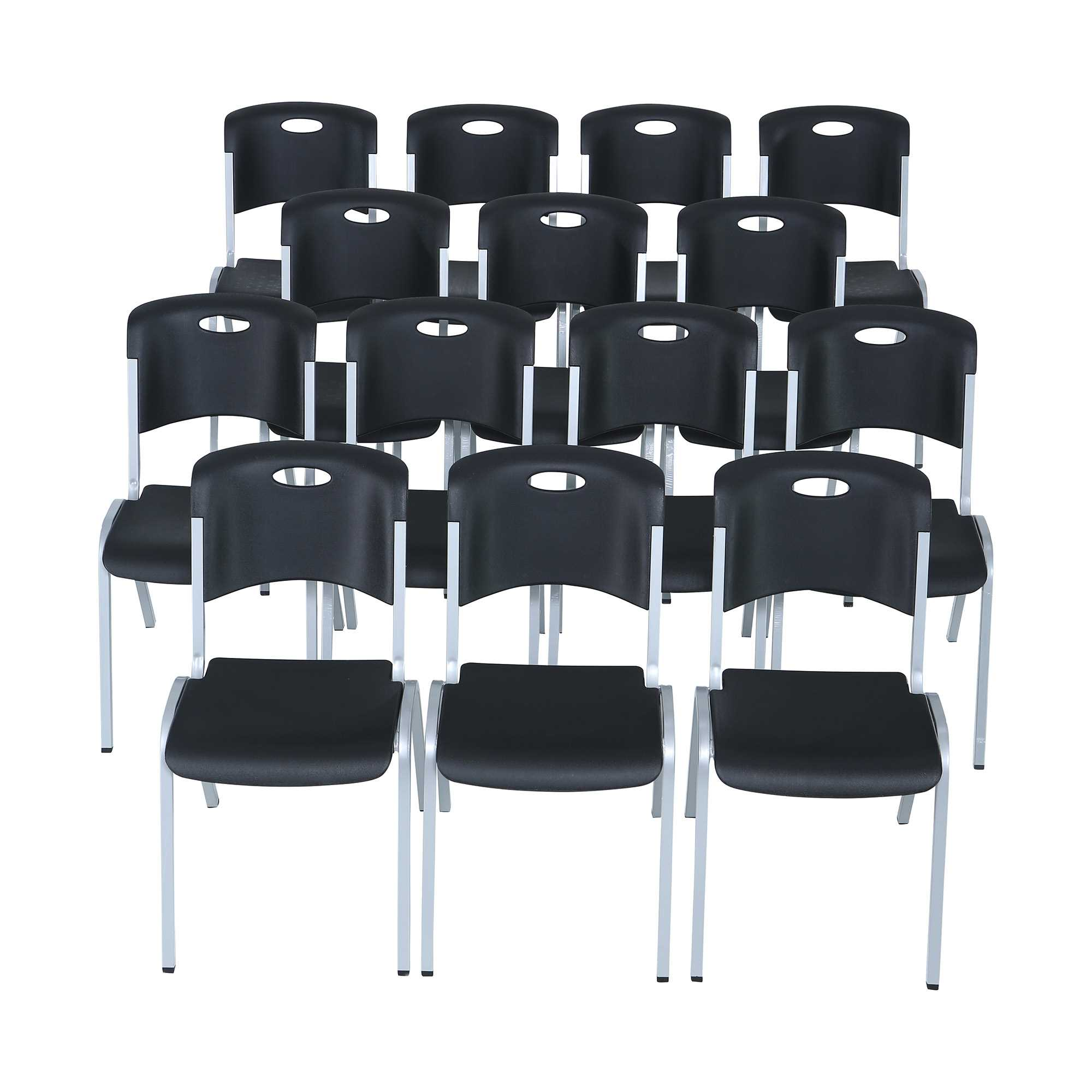 Lifetime Premium Black Stacking Chair