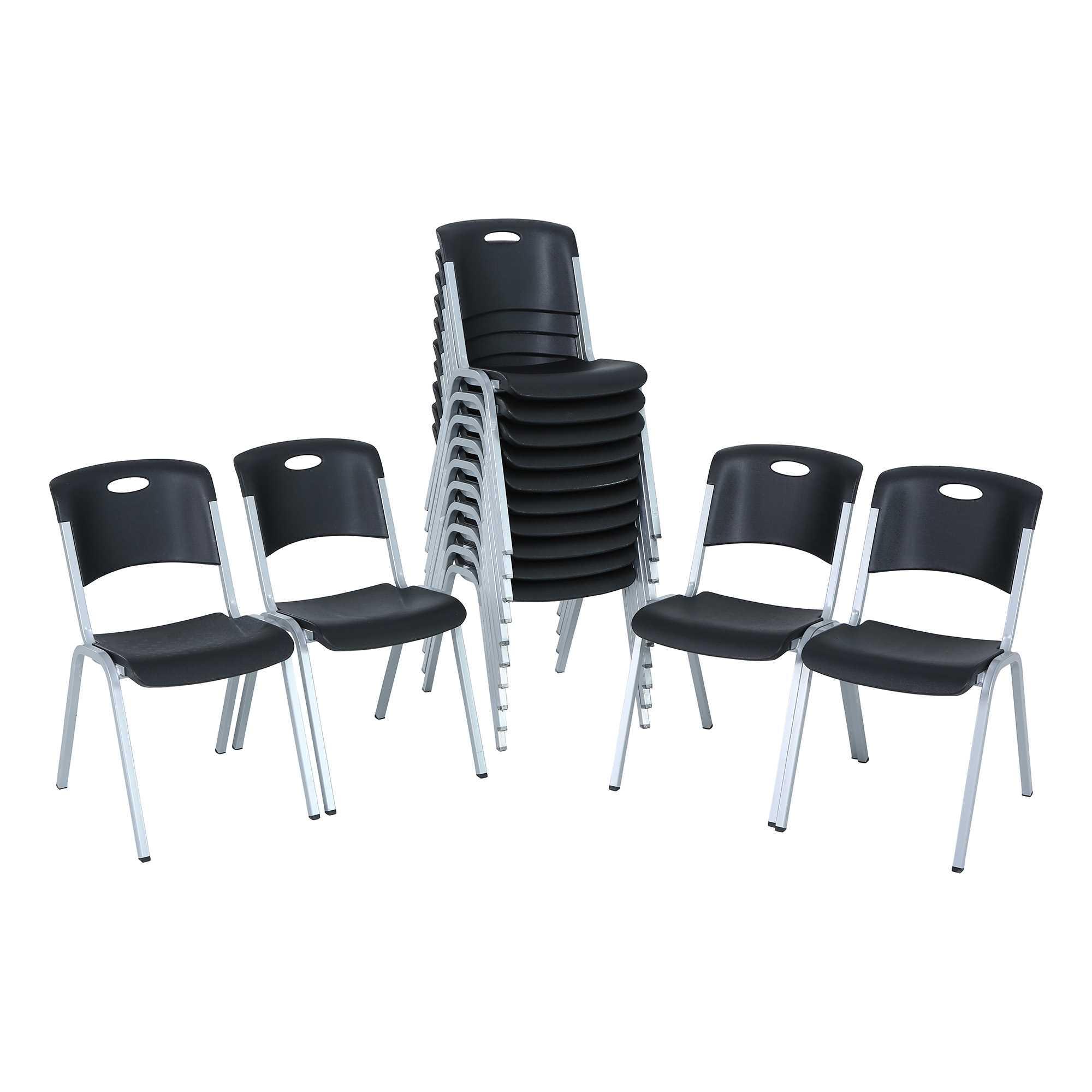 Lifetime Premium Black Stacking Chair