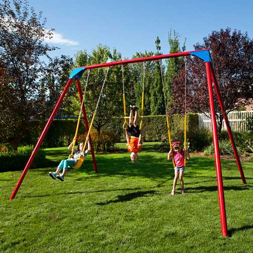 Heavy Duty Playground : Heavy duty a frame metal swing set primary colors