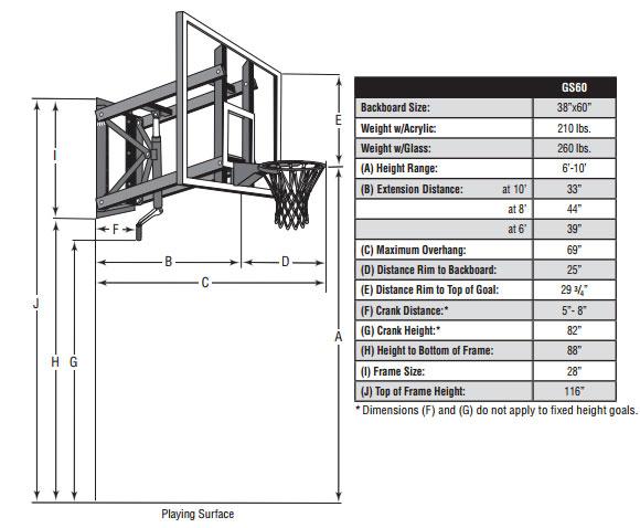 Goalsetter Base Line Wall Mount Basketball Hoop Gs60 60 In