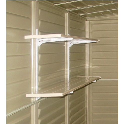 Duramax 00882 yard mate 5x8 storage shed on sale with free for Attaching shelves to plastic shed