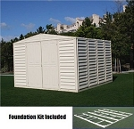 Duramax 10x10 WoodBridge Vinyl Shed and Foundation