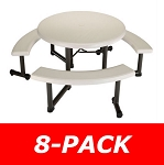 Lifetime Round Picnic Tables 2127 44 Almond Top Swivel Benches 8 Pack