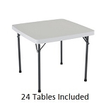 Lifetime Card Tables 2315 White Granite 37 in. Top - 24 Pack