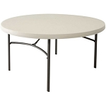 Lifetime Folding Table 80121 60-inch Round Almond Plastic Top