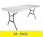 Lifetime Folding Tables 6' 2924 Light Duty White Plastic Top 24 Pack