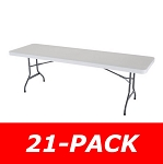 Lifetime 2980 8' Rectangular Tables 21 Pack White Granite Color Top