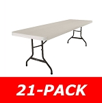 Lifetime 2984 8' Rectangular Tables 21 Pack with Almond Color Top
