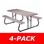 Lifetime Folding Picnic Tables 42119 Putty Color 6 ft. Top - 4 Pack