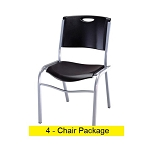 Lifetime Stacking Chairs - 42830 Black Stackable Chairs 4 Pack