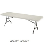 Lifetime 8-ft 42984 Rectangular Tables 4 Pack with Almond Color Top