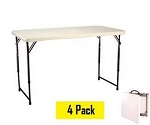 SO NEW Lifetime 4 ft Fold in Half Adjustable White Tables