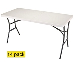 Lifetime Tables 4534 White 5 ft. Fold In Half Folding Tables 14 Pack