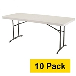 Lifetime Tables - 4571 Almond 6 ft. Fold-in-half Table Top - 10 Pack