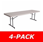 Lifetime Heavy-Duty Tables - 480127 Putty Color 8 Ft. Table 4 Pack